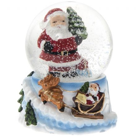 Father Christmas Glass Snow globe with Reindeer Sleigh Base